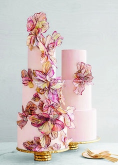 We love wedding cakes! We have everything from the latest trends (bye naked cakes!), to the flavors everyone is loving, expert tips and thousands of beautiful wedding cakes to inspire you. Wafer Paper Flowers, Wafer Paper Cake, Sugar Flowers, Pink Flowers, Floral Wedding Cakes, Wedding Cake Designs, Wedding Cake Toppers, Best Cake Designs, Floral Cake