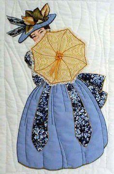 Mujer antigua  sombrilla amarilla