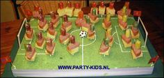 school birthday treat (Dutch)  From lollipop, cheese, sausage, goals from straws, ball round lollipop with white paper with dots