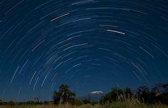 hour-long exposure of Kilimanjaro at night, from the Amboseli National Park, Kenya
