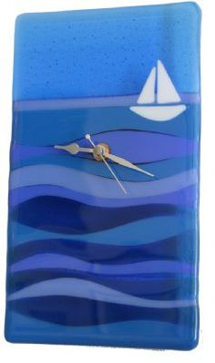 Seascape with Yacht - Fused Glass Clock