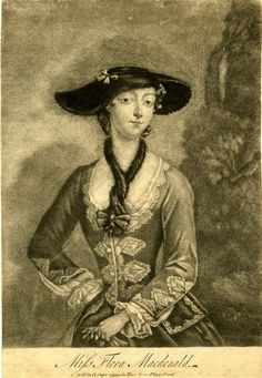 Miss Flora Macdonald. Portrait of a woman wearing upper class riding dress, three-quarter length facing front, head turned towards left shoulder, looking towards the viewer, right hand on her hip, left hand holding gloves in front of her, wearing a wide-brimmed hat, fur tippet and dress decorated with small diamond panels, with a landscape background.