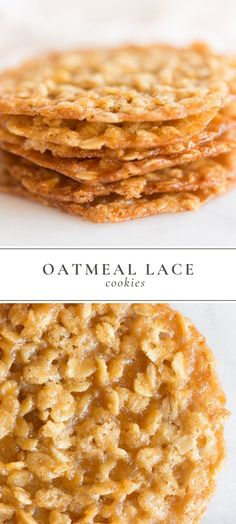 Oatmeal Lace Cookies are a thin, chewy oatmeal cookie with a deliciously sugary . , Oatmeal Lace Cookies are a thin, chewy oatmeal cookie with a deliciously sugary taste, that are stackable for easy gifting. Lace Cookies are made with. Cake Mix Cookie Recipes, Yummy Cookies, Brownie Cookies, Quick Cookie Recipes, Lace Cookies Recipe, Quick Dessert Recipes, Oatmeal Cookie Recipes, Baking Recipes Quick And Easy, Recipes With Quick Oats
