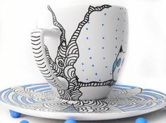Owl hand painted teacup by CraftUnikat