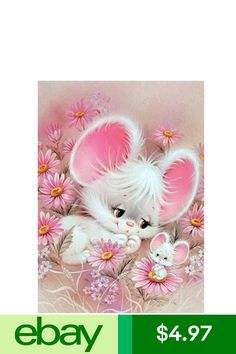 KOTWDQ DIY Diamond Painting Rabbit by Number Kits, Crystal Rhinestone Diamond Embroidery Paintings Pictures Arts Craft for Home Wall Decor, Full Drill 12 x 16 Inch, Illustration Mignonne, Cute Illustration, Cute Images, Cute Pictures, Beautiful Pictures, Animal Drawings, Cute Drawings, Art Mignon, Cute Mouse