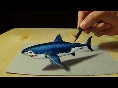 Desenho Grande Tubarão Branco em 3D - Desenho Artístico Mágico - YouTube