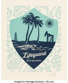 Shepard Fairey Obey Giant Lifeguard Not on Duty Letterpress S N 450 Paris Show
