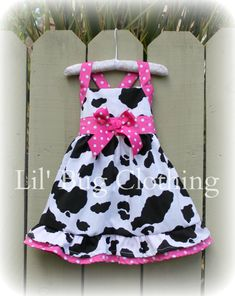 Items similar to Western Wear Dress, Country Cow Print Dress, Hot Pink And Cow Girl Dress, Western Birthday Party Dress on Etsy Little Girl Dresses, Girls Dresses, Western Wear Dresses, Bug Clothing, Westerns, Jumper Dress, Diy Clothes, Baby Dress, Kids Outfits