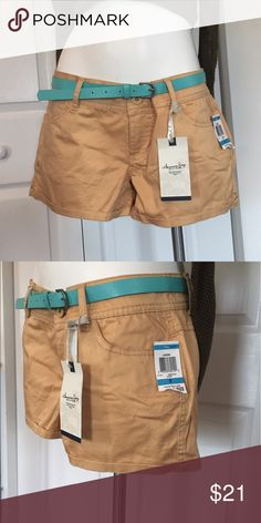 "AMERICAN RAG Shorts sz 9 NWT Butterscotch colored shorts with teal belt.  Laguna style.  11"" long on the side, inseam is 2 1/4"" and waist is approx. 17"" across. 2 rear pockets.  New with tags.  90% cotton, 2% spandex. American Rag Shorts"