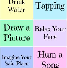 Relaxation Prompt Printables ~ Free and handy.  Includes 2 sheets of prompts and blank cards on which kids can add strategies that work for them.