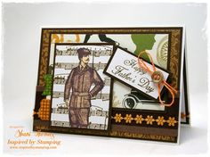 The central imaged I've used on this Father's Day card dates back to 1898 and comes from an old German magazine. I've also used stamps from Inspired by Stamping's Whimsical Banners, Background Basics III and All Year Wishes II sets.