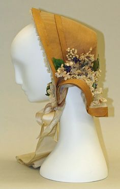 1856, America - Straw poke bonnet