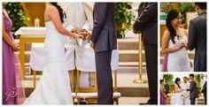 Wedding Ring exchange at a Catholic Wedding Ceremony in Calgary AB. Photos by Sujata Photography.