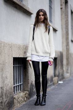 Effortless chic at #MFW. #Streetstyle