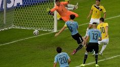 James Rodriguez of Colombia scores his team's second goal