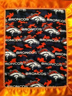 "Denver Broncos Baby Flannel & Satin Snuggle Blanket by CozyKrafts, $12.95  So many teams to choose from for the little sports ""Fan"" in your life!"