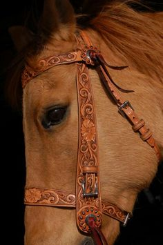 Beautiful hand carved bridle. I'm going to make one like this someday