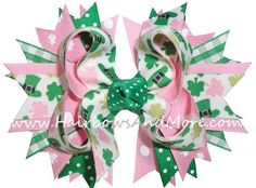 St. Patricks Day bow--love the pink and green