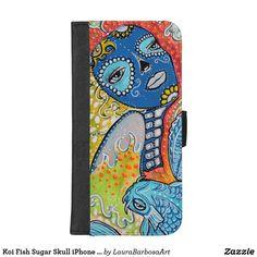 Koi Fish Sugar Skull iPhone Wallet Case
