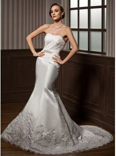 Mermaid Sweetheart Chapel Train Satin  Lace Wedding Dresses With Lace  Sashes  Beadwork (002000108)