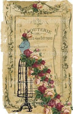Giclee Floral French Dress Form Digital collage por DigitalBliss