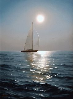Alexei Adamov @ by Musica Pittura e Dintorni love THE PAINTING.Great sailing ships are only sticks of wood without the invisiable force of wind. Sailboat Painting, Boat Art, Belle Photo, Painting Inspiration, Sailing Ships, Art Photography, Scenery, Pictures, Sailboats