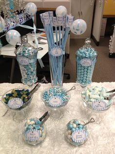 Candy Buffet- Pink, Purple, Lavendar, Blue, Teal, Green, Lime, Ivory, Silver, etc.. $150.00, via Etsy. Purple Candy Buffet, Lavender Baby Showers, Sweet Sixteen Parties, Purple Colors, Teal Green, Pink Purple, Cool Baby Stuff, Baby Shower Parties, Baby Boy Shower