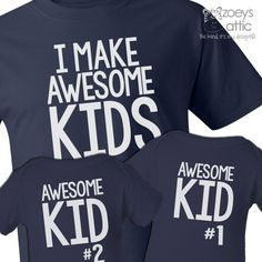 personalized mens shirt, awesome dad and kids, three matching DARK t-shirt set
