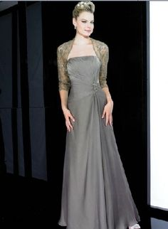 A-Line Satin Gray Strapless Empire Waist Pleated And Beading At Side With Lace Coat Floor Length Mother Of The Bride Dresses MOBD064