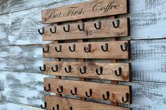 mug display Coffee cup holder coffee cup rack coffee mug rack coffee Coffee Cup Rack, Coffee Mug Display, Coffee Mug Holder, Coffee Cups, Coffee Coffee, Coffee Drinks, Rustic Crafts, Rustic Decor, Rustic Bench