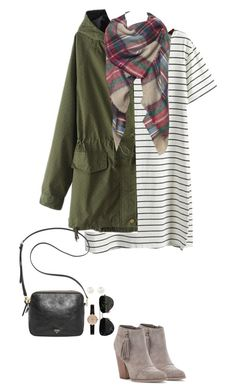 """Striped t-shirt dress, plaid scarf & army green jacket"" by steffiestaffie ❤ liked on Polyvore featuring Sole Society, Barbour, FOSSIL, Ray-Ban and Accessorize"