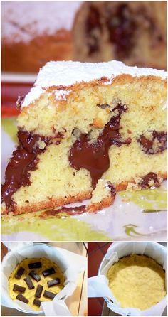 Soft pastry cake with chocolate- Torta soffice di frolla montata con cioccolato A soft dough with a melting melting heart, … - Italian Cake, Italian Desserts, Mini Desserts, Delicious Desserts, Yummy Food, Sweet Recipes, Cake Recipes, Dessert Recipes, Super Torte