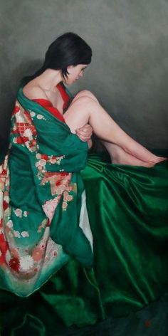 "Saatchi Online Artist: Stephanie Rew; Oil, 2011, Painting ""Seated in green Furisode kimono"""
