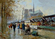 Bouquinistes by Edouard Cortes (1882-1969, France)