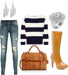 Untitled #7, created by yzchic on  Polyvore. like only a vertical stripe shirt please