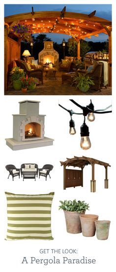 Create an outdoor room with a festival in my mind pergola, cozy seating, and ambient lighting.