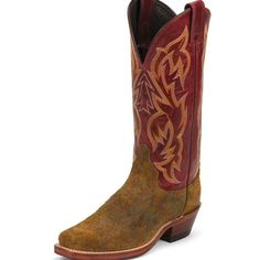 """Justin Ladies' Bent Rail -Burnt Copper Picasso Cowhide - 13"""" pull-on - J125 square toe - Burnt Copper Picasso cowhide foot with red Torino cowhide shaft - Cushioned horseshoe midsole - J-Flex Flexible"""