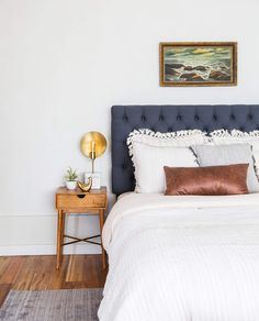 Emily Henderson_Target_Bed Styling_Styling to Sell_White_Blue_Leather_Gray_Guest Bedroom_1