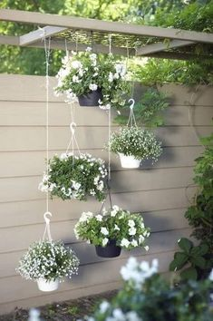 You can do it in your garden using hanging garden. Hanging garden is essential in a home, from supply when need herbs for cooking to beautifies your home. All of that can be achieved with hanging garden. Modern Landscaping, Backyard Landscaping, Backyard Patio, Modern Backyard, Pergola Patio, Pergola Kits, White Pergola, Backyard Plants, Modern Pergola