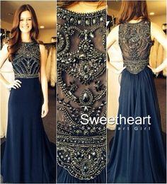2016 unique design dark blue chiffon sequin beaded long prom dress 2016 for teens, modest prom dress