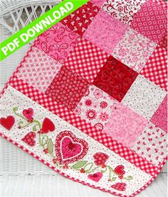 """PDF Download pattern- For My Valentine is a Shabby Fabrics exclusive pattern featuring a sweet 23' x 50"""" tablerunner adorned with plenty of red and white hearts and of course, lots of fun embellishments!"""