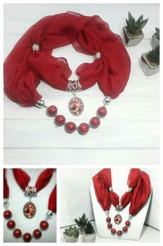 Red Scarf Necklace with roses pendant Scarf Necklace, Fabric Necklace, Scarf Jewelry, Bead Jewellery, Fabric Jewelry, Pendant Jewelry, Beaded Jewelry, Diy Bracelets And Earrings, Necklaces