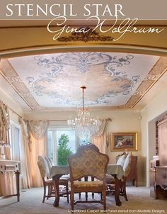 The Chambord Carpet & Panel Stencil from Modello® Designs on a glorious ceiling by Gina Wolfrum of Elegant Finishes by Gina.
