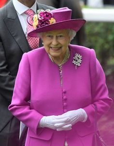 June 24, 2017 - HM Queen Elizabeth II is enjoying Day 5 of Royal Ascot. HM accessorized her lovely pink coat with the beautiful Irish Blossom Brooch.