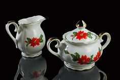 Sugar Bowl and Creamer Lefton China White by MountainAireVintage