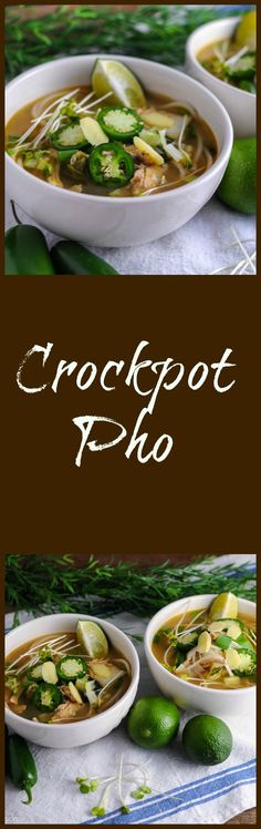 Crockpot Pho - chicken noodles ginger fish sauce lemongrass all combine in this broth. This easy crockpot soup is flavorful and full of lime jalapeno and spice. Crock Pot Recipes, Crock Pot Soup, Crock Pot Slow Cooker, Crock Pot Cooking, Slow Cooker Recipes, Soup Recipes, Chicken Recipes, Cooking Recipes, Healthy Recipes