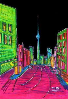 Toronto Skyline poster.  Bright and awesome!