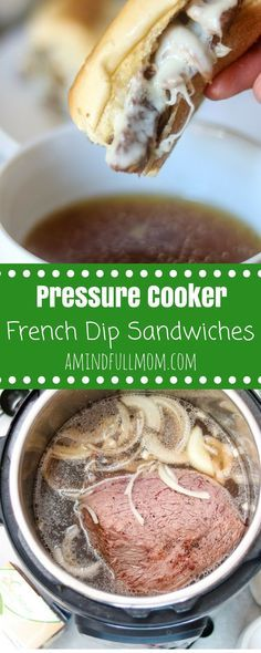 Pressure Cooker French Dip Sandwiches: Easy French Dip Sandwiches are sure to become a new family favorite dinner. Tender chuck roast is piled on a toasted garlic bun and smothered with provolone cheese. Served up with rich broth on the side for dipping. These delicious sandwiches are made with almost no effort in the Instant Pot or Slow Cooker. @ALDIUSA #ALDILove #pressurecooker #beef #slowcooker #instantpot via @amindfullmom