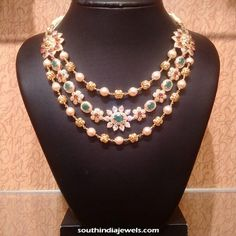 Gold step necklace with side mogappu. The necklace is studded with precious white stones, rubies and emeralds. Jewelry Necklaces, Beaded Necklace, Floral Necklace, Necklace Set, Small Necklace, Layer Necklace, Antique Necklace, Pearl Necklaces, Diamond Necklaces