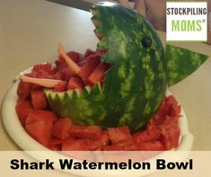 Shark Watermelon Bowl that you can easily make for a summer party!